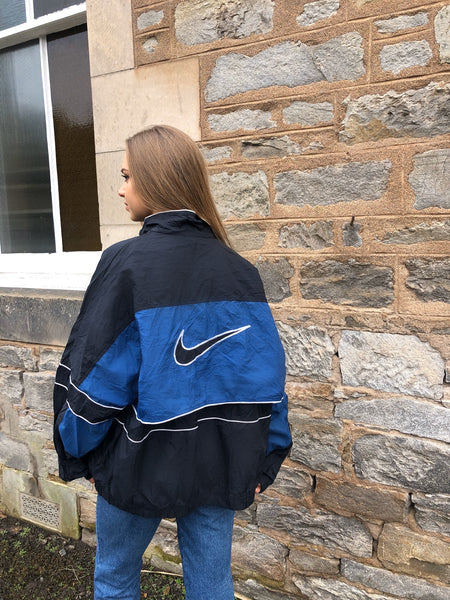 Vintage Nike Oversized Unisex Windbreaker Shell Track Jacket Blue