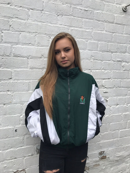 Vintage Oversized Bomber Unisex Windbreaker Shell Jacket Green & White