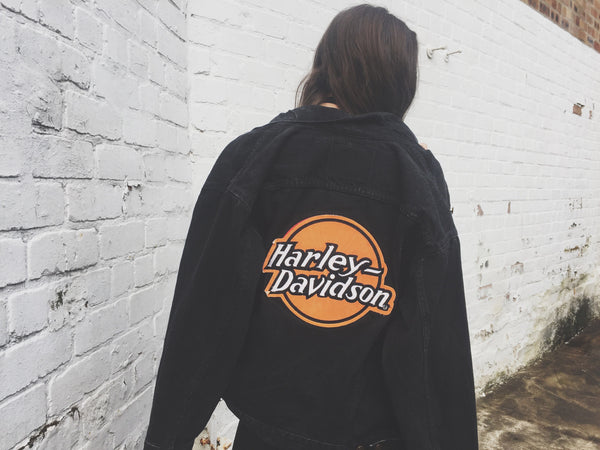 RARE Vintage Levi Harley Davidson Oversized Unisex Denim Jacket Black & Orange