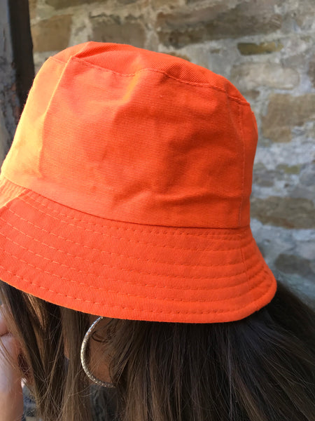 Love Route Unisex Reversible Bucket Hat Orange/Beige Nova Check