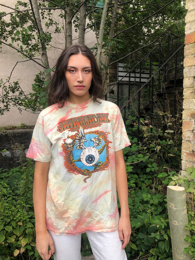 Vintage Tie Dye Graphic Unisex Oversized Baggy T Shirt / Tee Orange