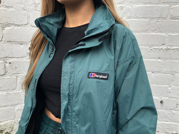 Vintage Berghaus Green Hooded Unisex Oversized Showerproof Jacket