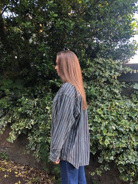 Vintage Unisex Oversized Ribbed Cord Stripe Shirt Grey & Green
