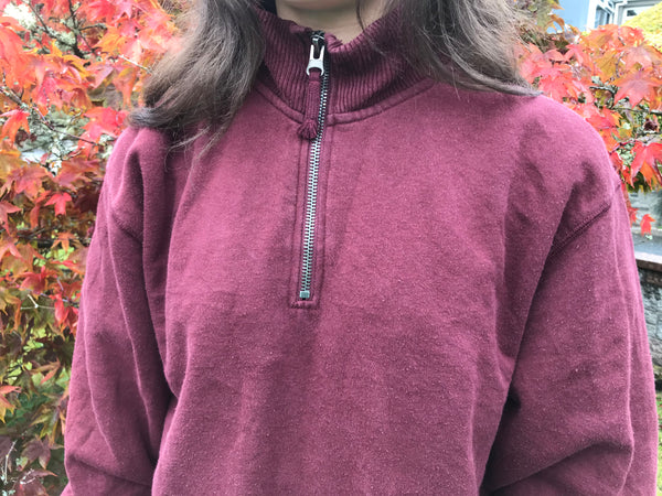 Vintage Champion Unisex 1/4 Zip Neck Pullover Sweater / Sweatshirt / Jumper Burgundy