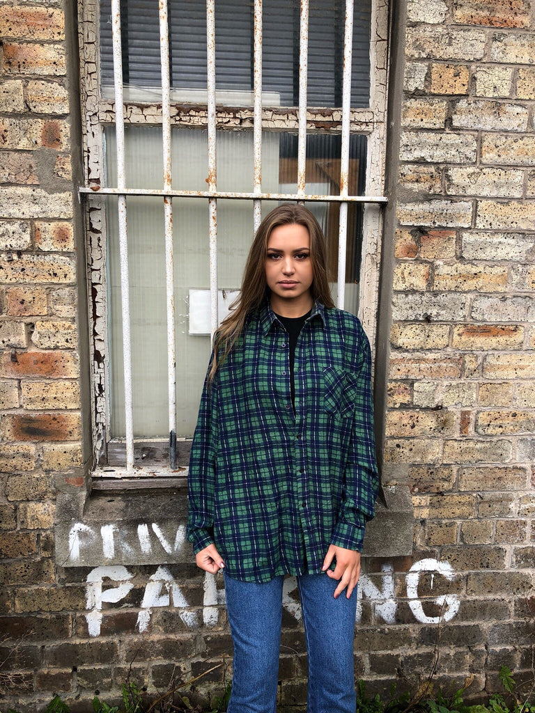 Unisex Vintage Checked Oversized 90's Green Flannel Shirt