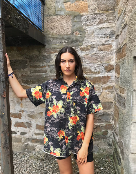 Vintage Hawaiian Crazy Print Colourful Unisex Festival Short Sleeve Shirt