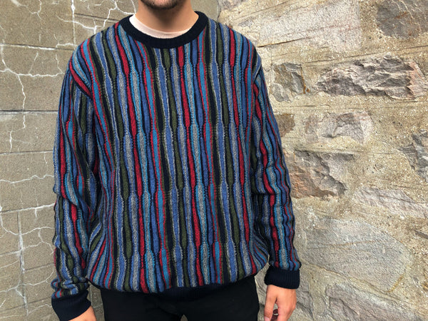 Vintage Crazy Patterned Colourful Knitted Grandad Jumper / Sweatshirt
