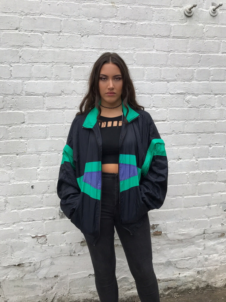 Vintage Unisex Retro Oversized Windbreaker Shell Jacket Bomber Green & Black