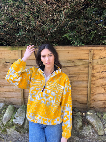 Vintage Unisex Colourful Crazy Print Oversized Funky Patterned 1/4 Zip Fleece Jumper / Sweatshirt Yellow