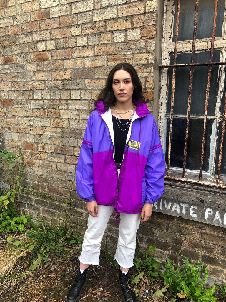 Vintage Windbreaker Unisex Oversized Festival Colourful Waterproof Shell Jacket / Rain Jacket / Coat