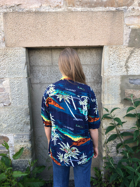 Vintage Hawaiian Crazy Print Colourful Unisex Short Sleeve Shirt Dark Blue