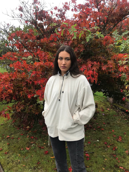 Vintage Unisex Oversized Fleece Pullover Jumper White