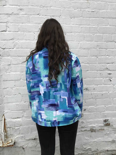 Vintage Unisex Retro Oversized Windbreaker Bomber Shell Jacket Crazy Print