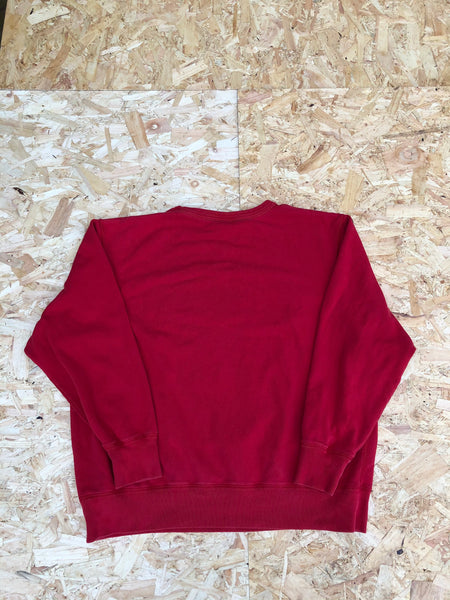 Vintage Ralph Lauren Polo Jeans Spell Out Unisex Oversized Sweatshirt / Jumper / Sweater Red