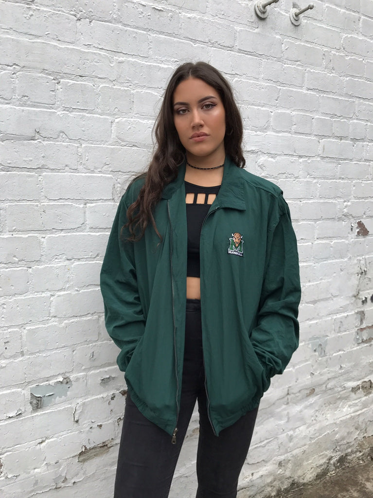 Vintage Unisex Retro Oversized Windbreaker Bomber Shell Jacket Green