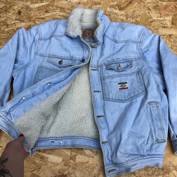 Vintage Fleece Lined Oversized Unisex Light Blue Denim Jacket