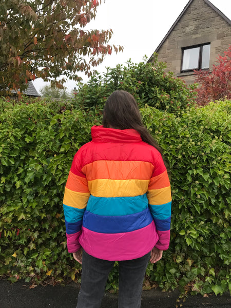 Love Route Oversized Rainbow Unisex Puffer Jacket