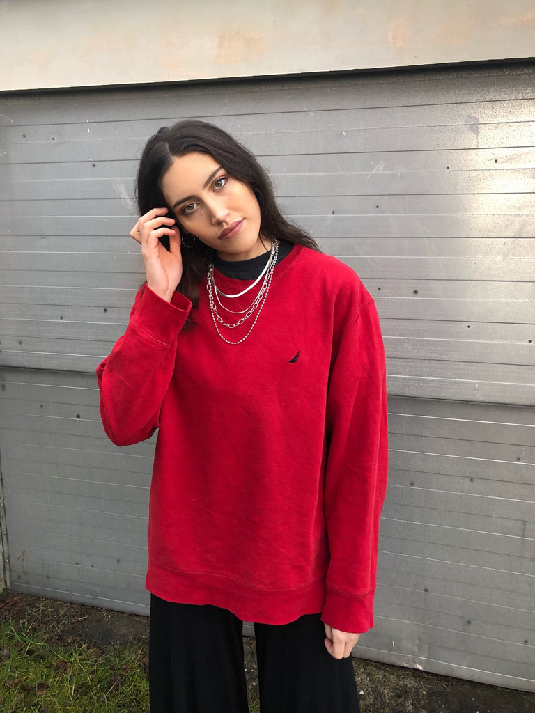 Vintage Nautica Oversized Sweatshirt / Jumper / Sweater Red
