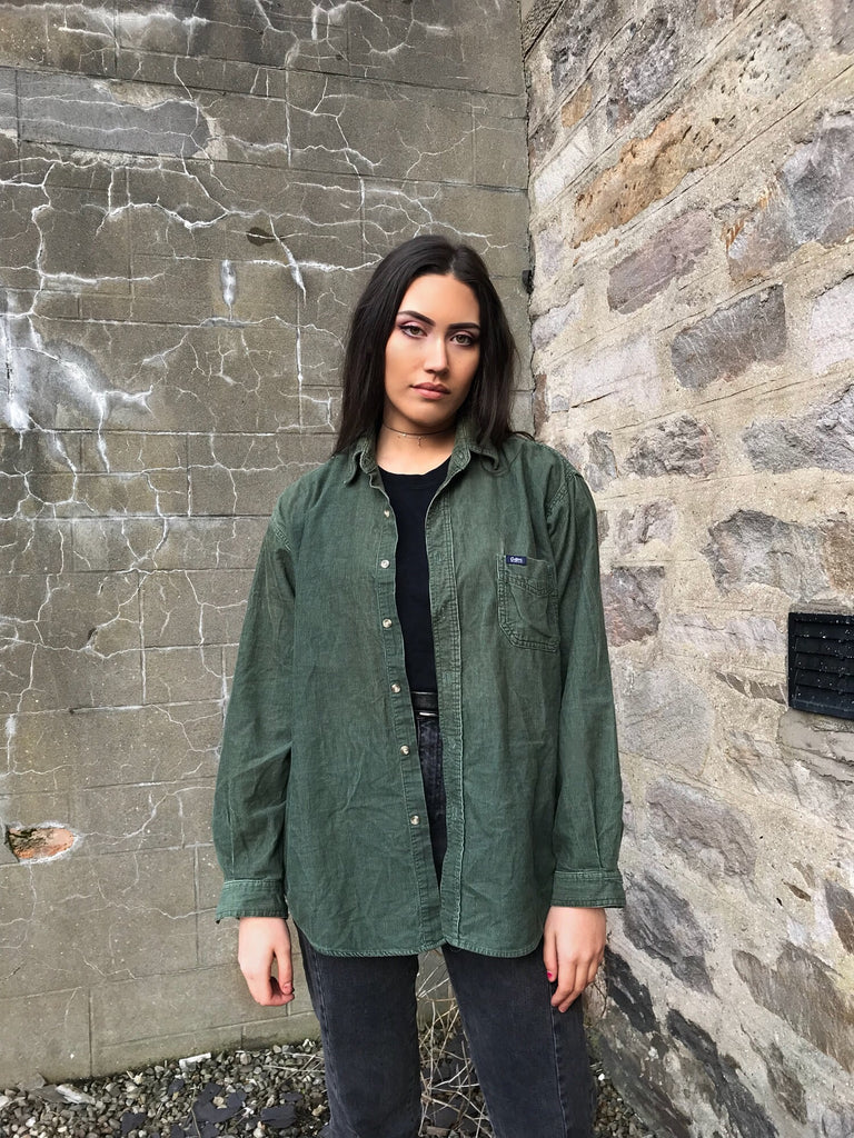 Vintage Green Unisex Oversized Ribbed Cord Shirt