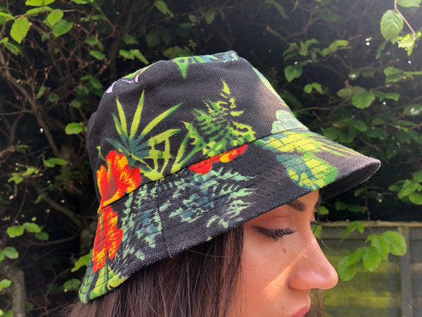 Love Route Unisex Floral Bucket Hat Black & Green