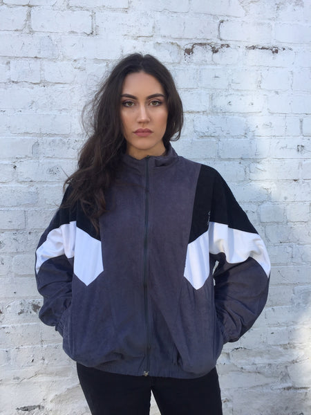 Vintage Unisex Retro Oversized Windbreaker Bomber Shell Jacket White, Black & Grey