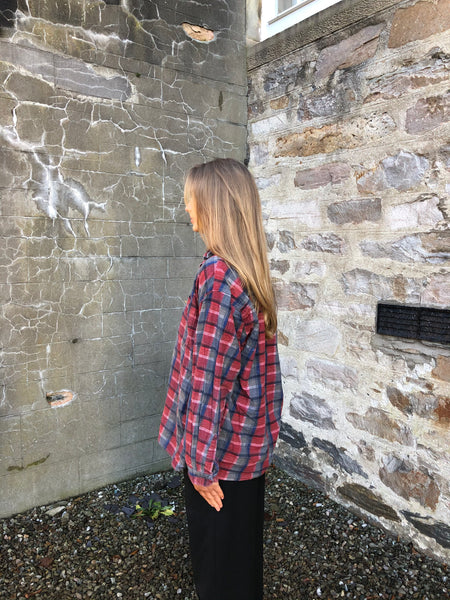 Vintage Checked Plaid Oversized 90's Flannel Shirt Red