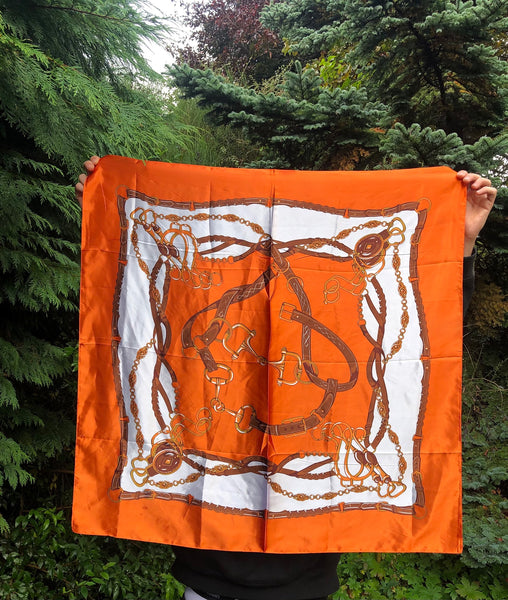 Vintage Printed Silky Patterned Lightweight Multiway Square Scarf / Scarf Top Orange