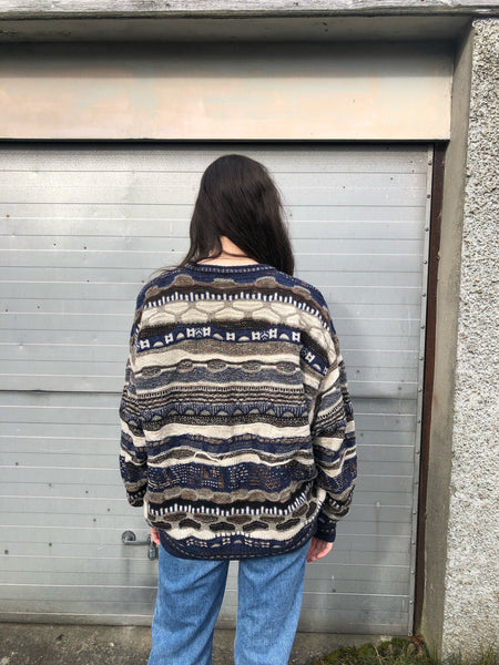 Vintage Coogi Style Patterned Knitted 90s Granny Jumper / Sweater