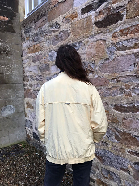 Vintage Adidas Unisex Oversized Windbreaker Retro Shell Jacket Pale Yellow / Dark Cream