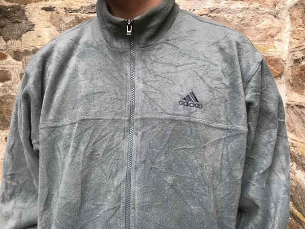 Vintage Adidas Unisex Fleece Jacket Grey