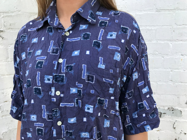 Vintage Crazy Patterned Unisex Short Sleeve Festival Shirt Blue