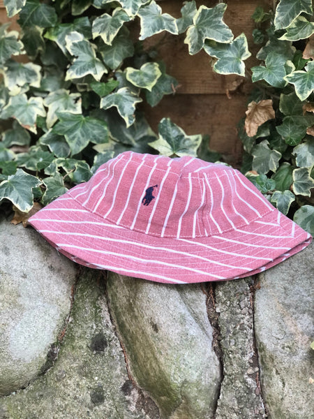 Vintage Reworked Ralph Lauren Recycled Shirt Bucket Hat - Red & White Stripe