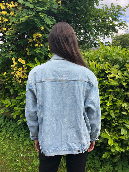 Vintage Embroidered Unisex Oversized Denim Jacket Blue