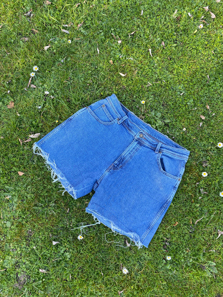 Wrangler Vintage High Waisted 90s Denim Shorts Blue - W32