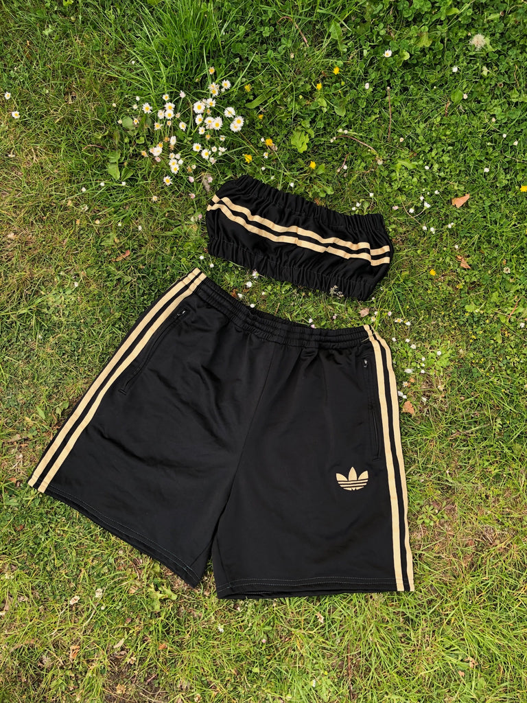 Vintage Reworked Adidas Originals 3-Stripes Tracksuit Tube Top & Shorts Two Piece Set / Co-Ord Black & Gold