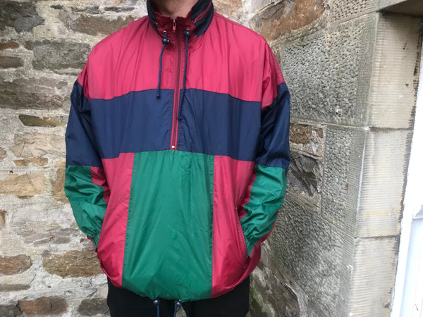 Vintage Unisex Retro Oversized Windbreaker Shell Jacket Half Zip Colourful Pullover