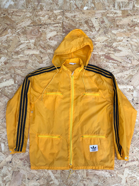 Adidas Originals Vintage Lightweight 3-Stripe Unisex Hooded Windbreaker Shell Jacket Black & Yellow / Gold