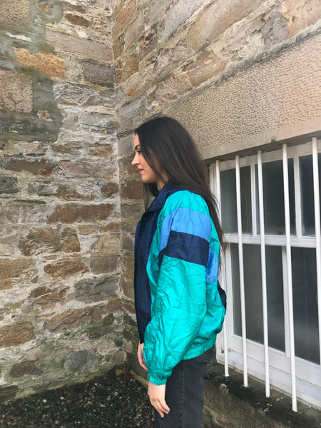 Vintage Unisex Oversized Colourful Windbreaker Wavy Shell Jacket