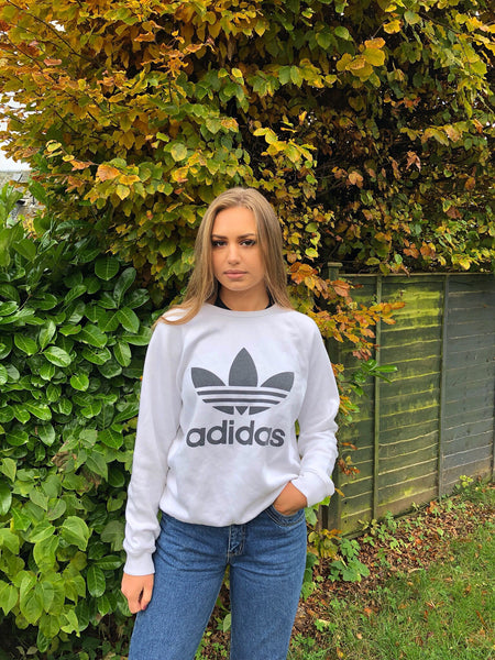 Vintage Adidas Originals Unisex Sweatshirt / Jumper / Sweater White