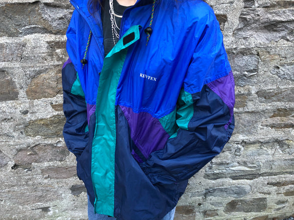 Vintage Windbreaker Unisex Oversized Festival Colourful Showerproof Shell Jacket