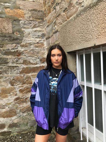 Vintage Unisex Oversized Windbreaker Festival Wavy Bomber Shell Jacket Purple