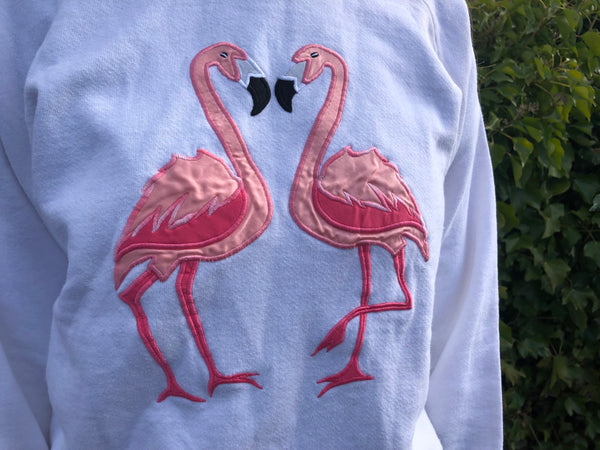 Vintage Embroidered Pink Flamingo Unisex White Jumper / Sweatshirt