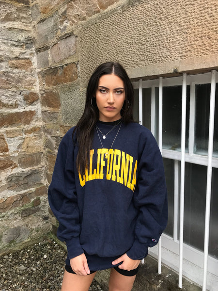Vintage Champion Printed Unisex California Sweater / Sweatshirt / Jumper Navy & Yellow