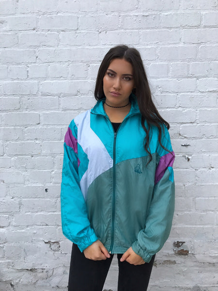 Vintage Unisex Retro Oversized Windbreaker Shell Jacket Bomber Green & Blue