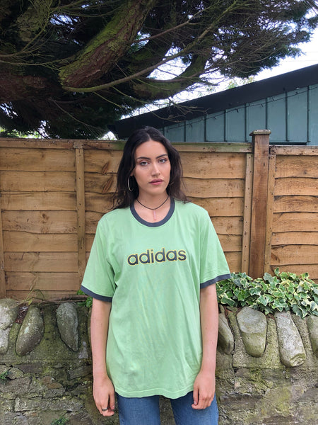 Vintage Adidas Oversized Unisex Baggy T Shirt Green