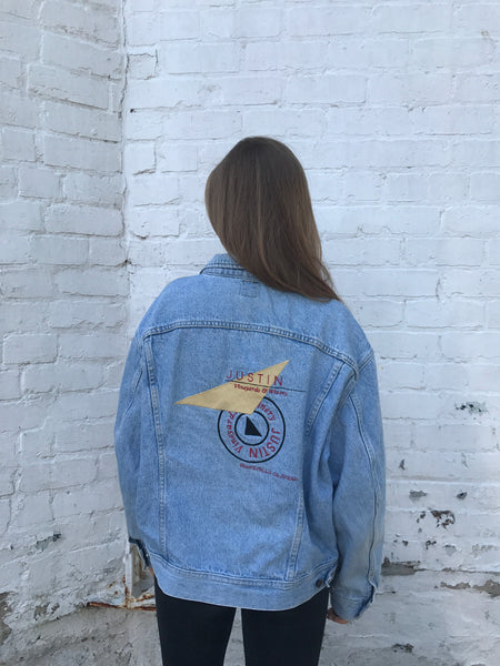RARE Vintage Lee Embroidered Oversized Unisex Denim Jacket