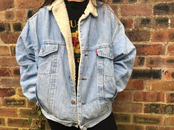 Vintage Diesel Oversized Fleece Lined Denim Jacket Stonewash Blue