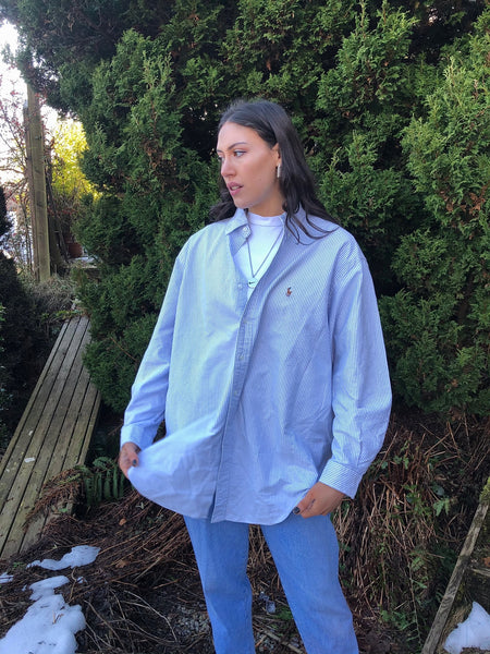 Vintage Ralph Lauren Unisex Striped Oversized Baggy Shirt Blue & White Stripe