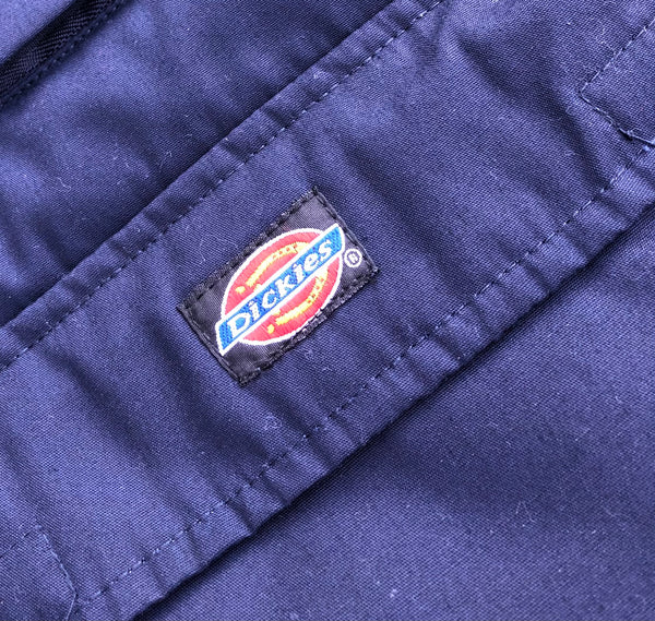 Vintage Dickies Workwear Oversized Unisex Padded Quilted Gilet Jacket / Body Warmer Navy Blue