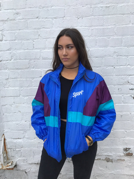Vintage Retro Oversized Windbreaker Unisex Shell Jacket Blue
